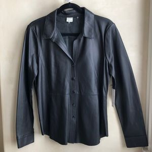 Ecru Black Leather Button Down Shirt